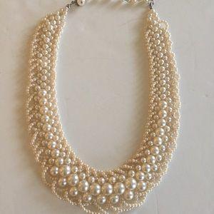 Faux Pearl Bib Necklace